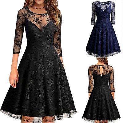 Damen Ärmello Abendkleid Spitzenkleider Party Knielang Ball Pencil Kleid Gr46-56 online kaufen