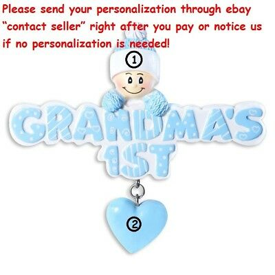 GRANDMA'S FIRST BABY BOY'S FIRST 1ST CHRISTMAS  PERSONALIZED CHRISTMAS ORNAMENT Baby Boy Christmas Ornament