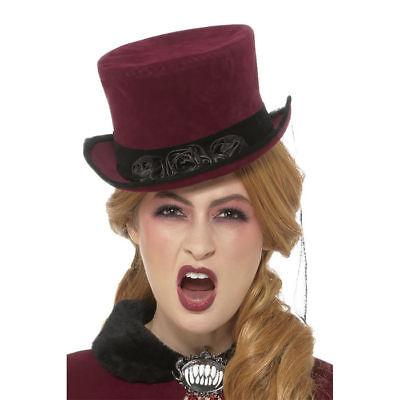 Zylinder Bordeaux Vampir Gothic mit Schleier Kostümzubehör Karneval Halloween
