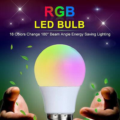 3W E27 B22-E27 16 Colour Changing RGB LED Light Bulb Lamp With IR Remote Control