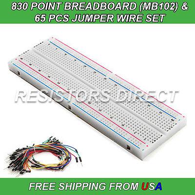 830 Point Breadboard Mb-102 65pcs Jumper Wire Solderless Pcb Prototyping New