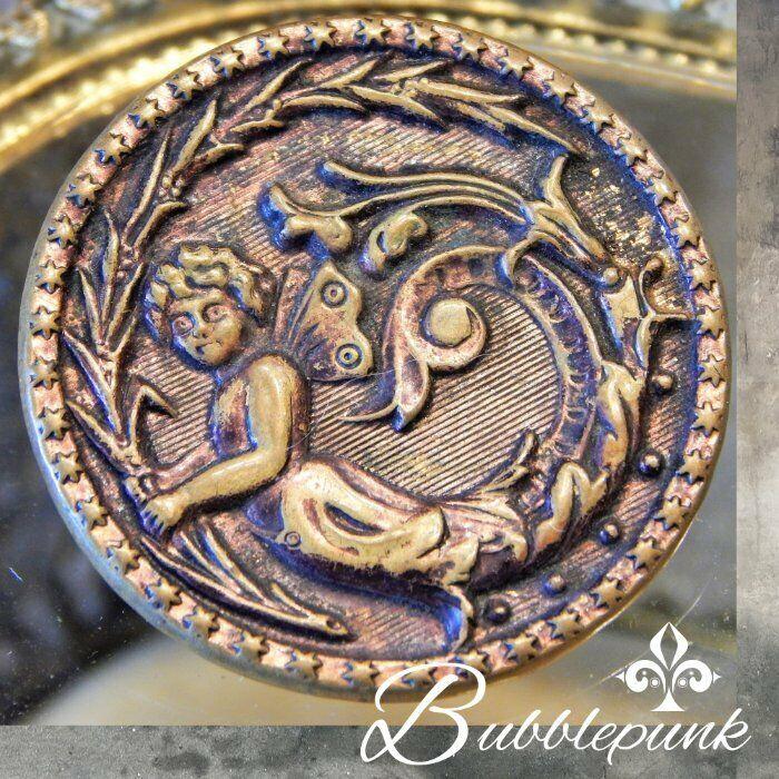 Antique Art Nouveau Cherub Fairy Relief Metal Shank Button ~ Estate Collection