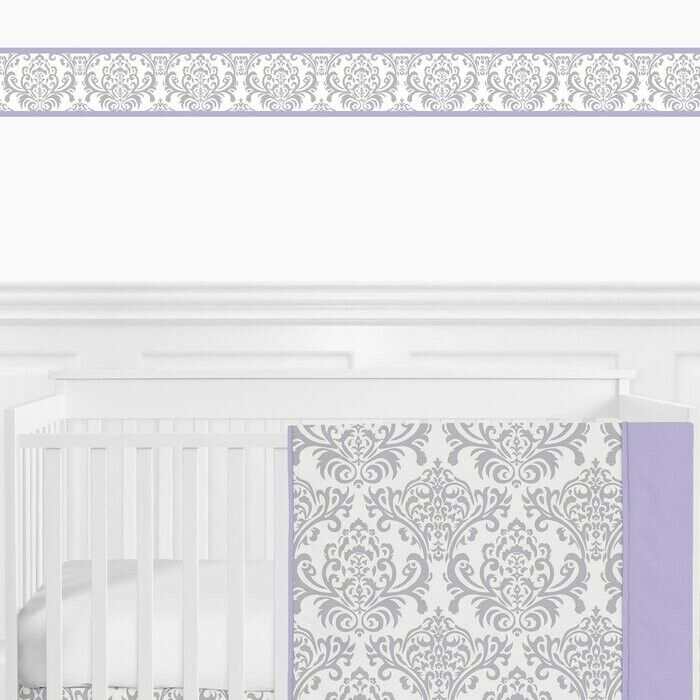 Sweet Jojo Lavender Gray Damask Baby Kids Wall Paper Border Room Wallcovering