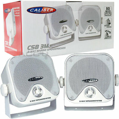 Car Caravan Home Boat Marine Water Resistant 2-Way White Pod Speakers & Brackets