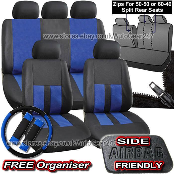 Super Details About Black Blue Leather Look Split Rear Seats Air Bag Friendly Full Car Seat Covers Machost Co Dining Chair Design Ideas Machostcouk