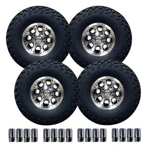 """10"""" Octo Machined Wheel on 22"""" Off-Road Pro-Fit Tire Set PF032PK"""