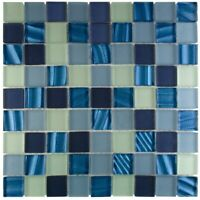 """1"""" x 1"""" Glass Mosaic Tile - Blue (1 Box Available)"""