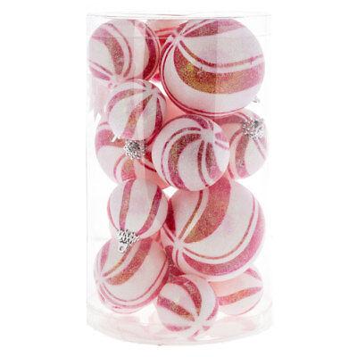 Peppermint Swirl Candy Ball Ornaments S/19 Sugar Coated Xmas Tree Decor Wreath ()