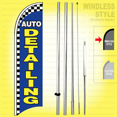Auto Detailing - Windless Swooper Flag Kit 15 Car Wash Feather Banner Sign Bb-h