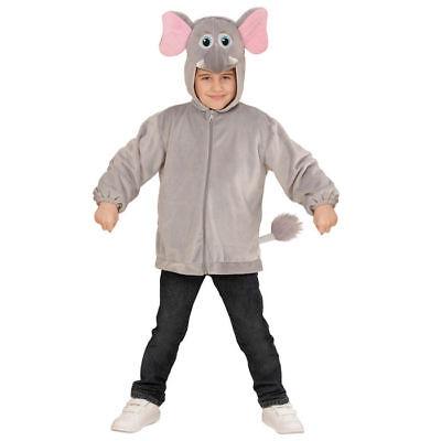 Elefanten Kostüm Jacke für Kinder mit Kapuze aus Plüsch 92 98 104 116 (Elefanten Kostüme Für Kinder)