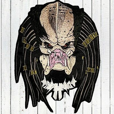 "Predator Face Embroidered Patch Big for Back Head No Helmet AVP Dutch 10"" Aliens"