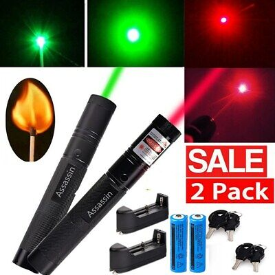 2PC 900Miles Green+Red Laser Pointer Pen 18650 Rechargeable Torch Light Lazer US