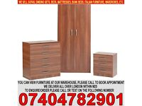 BRAND NEW 2 Door Wardrob Set Already Fitted Chest of Drawer and Bedside Table