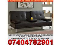 BRAND NEW Click Clack 3 Seater Leather Sofa Bed Settee with Cup Holder