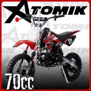 NEW ATOMIK MOTO X 70CC MOTOR PIT DIRT BIKE MOTO CROSS TRAIL TERRAIN OFF ROAD MX