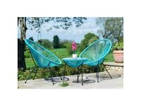 new garden set of 2 string effect chairs and table in aqua or bright pink