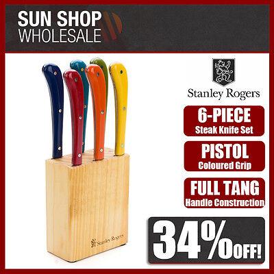 STANLEY ROGERS Pistol Grip Provincial Steak Knives 6pc Set Coloured! RRP