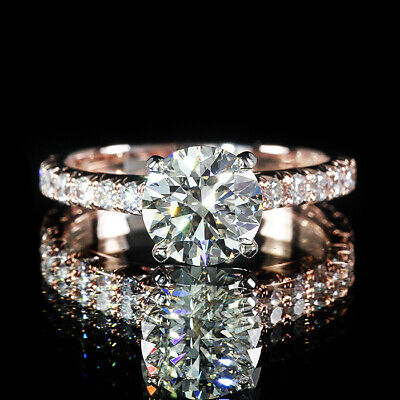2.25ctw Round Center GIA Diamond French Pave 18K Rose Gold Engagement Ring