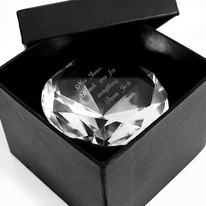 Personalised Engraved Diamond Paperweight - Wedding Anniversary Birthday Gift