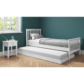 New Oxford Single Guest Bed in Pure White - Trundle Bed Included