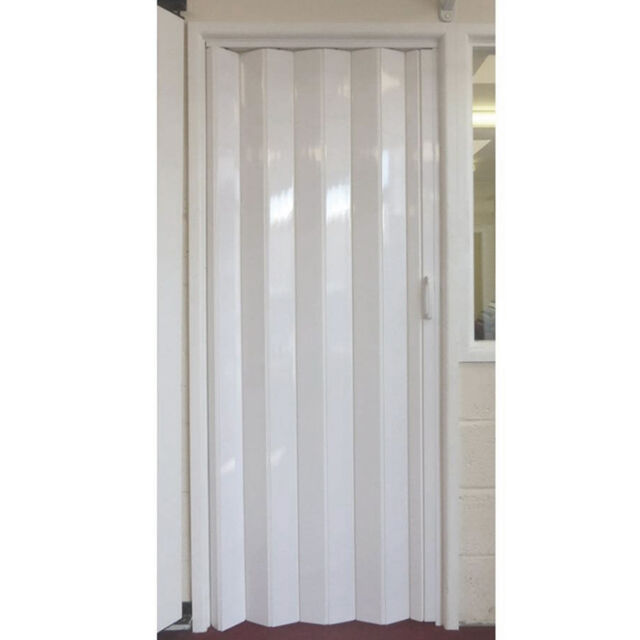 panana pvc concertina accordion folding door magnetic catch white gloss washable