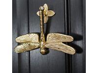 Solid Brass Dragonfly Door Knocker   NEW