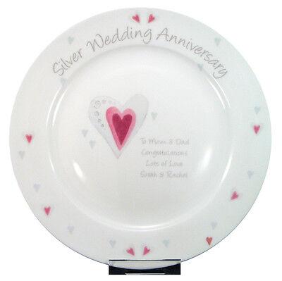 Silver Wedding Anniversary Ideas (SILVER 25TH WEDDING ANNIVERSARY PERSONALISED PLATE Unique & Unusual Gift)