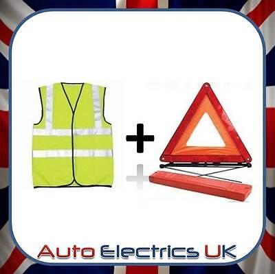 Car Warning Triangle Reflective Emergency Breakdown & High Visibility Vest KIT