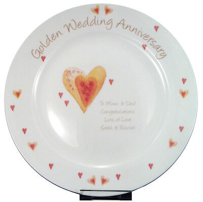 GOLDEN 50TH WEDDING ANNIVERSARY PERSONALISED PLATE Unique & Unusual Gift Idea - 50th Wedding Anniversary Ideas