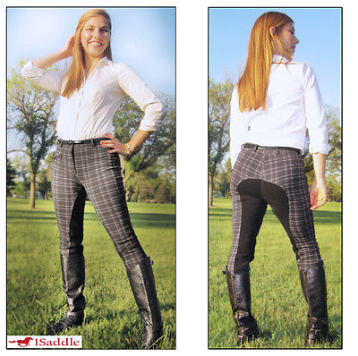 New 30 Classic Blk Plaid Full Seat English Riding Ladies Breeches Pants Breech