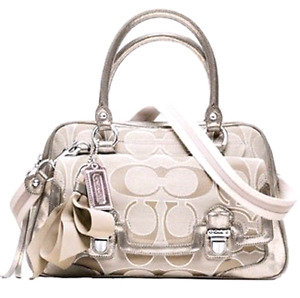 *AUTHENTIC*COACH POPPY SATEEN SIGNATURE SATCHEL