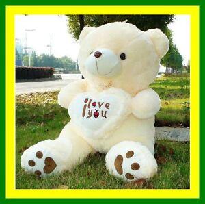 Huge-Plush-LOVE-HEART-TEDDY-BEAR-STUFFED-TOY-70CM-Valentines-Day-Wedding-gift