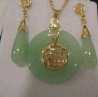Beautiful Natural Jade Pendant and pair of Earrings Set - Jade Pendant Earring Set