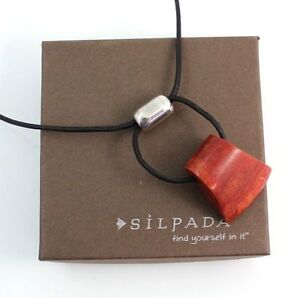 SILPADA RED CORAL , SILVER ON LEATHER CORD