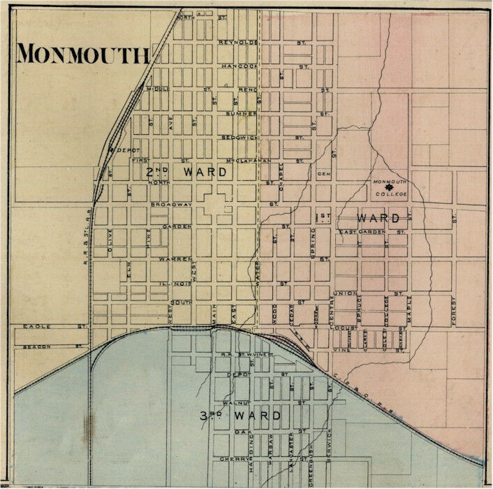 Monmouth  Illinois Warren Co IL 1876 Map Genealogy