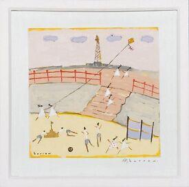 Yellow kite on the beach (2007) by David Barrow (Original Acrylic Painting)