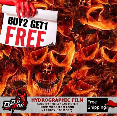 Lm Inferno Fire Skulls Hydrographic Water Transfer Film Hydro Dipping Dip Demon