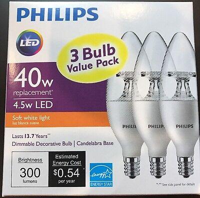 One 3-pack PHILIPS Soft White 4.5W (40W) B11 Candelabra LED Light Bulb.BRAND NEW