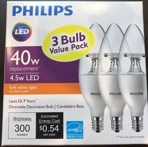 One 3-pack PHILIPS Soft White 4.5W  B11 Candelabra LED Light