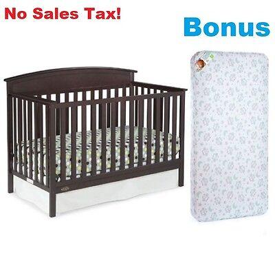 Convertible Baby Crib Bonus Mattress 7 in 1 Toddler Kids Nursery Bed Furniture