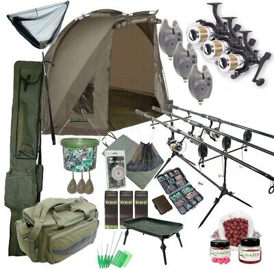 3 Rod Carp Set Up With Shelter Bivvy Tent. Carp Fishing Set. Rods Reels Bait Bag