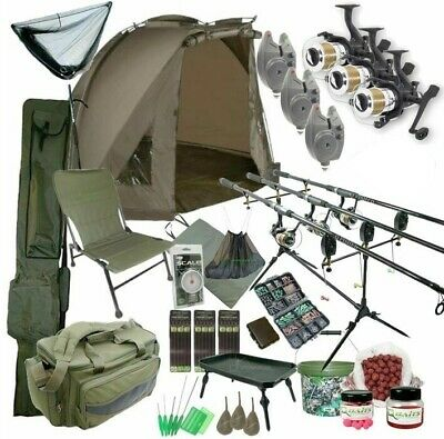 3 Rod Carp Set Up With Bivvy Tent. Carp Fishing Set. Rods Reels Bait Bag Holdall