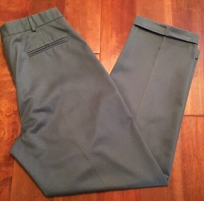 Lands End Mens Double Pleated Cuffed Gray Dress Pant Size 33 x 31 Double Pleated Trouser