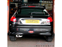 Peugeot 206 GTi Custom Built Exhaust System Single Tail Pipe