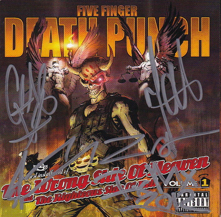 FIVE FINGER DEATH PUNCH signed autographed CD COVER BOOKLET by ALL PSA DNA COA