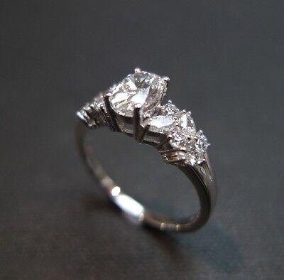 ESTATE VINTAGE OVAL DIAMOND ENGAGEMENT WEDDING RING SET IN 14K WHITE GOLD OVER