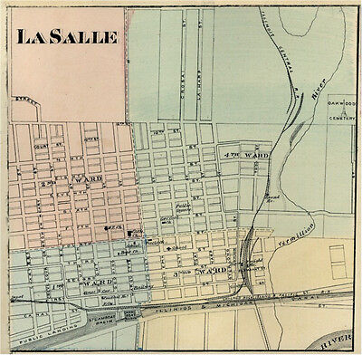 LaSalle Illinois IL  1876  Map Genealogy history