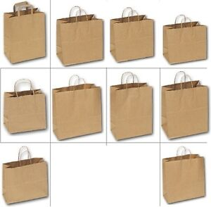 LOT 20~100~500Pcs KRAFT BAGS PAPER SHOPPING BAGS WHOLESALE STORE BAGS BROWN BAGS
