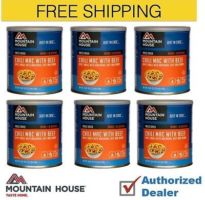 New 1 Case of 6 cans Mountain House Chili Mac w Beef Emergency Food Supply 30