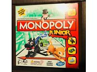 Monopoly Junior Board Game. As New Condition.